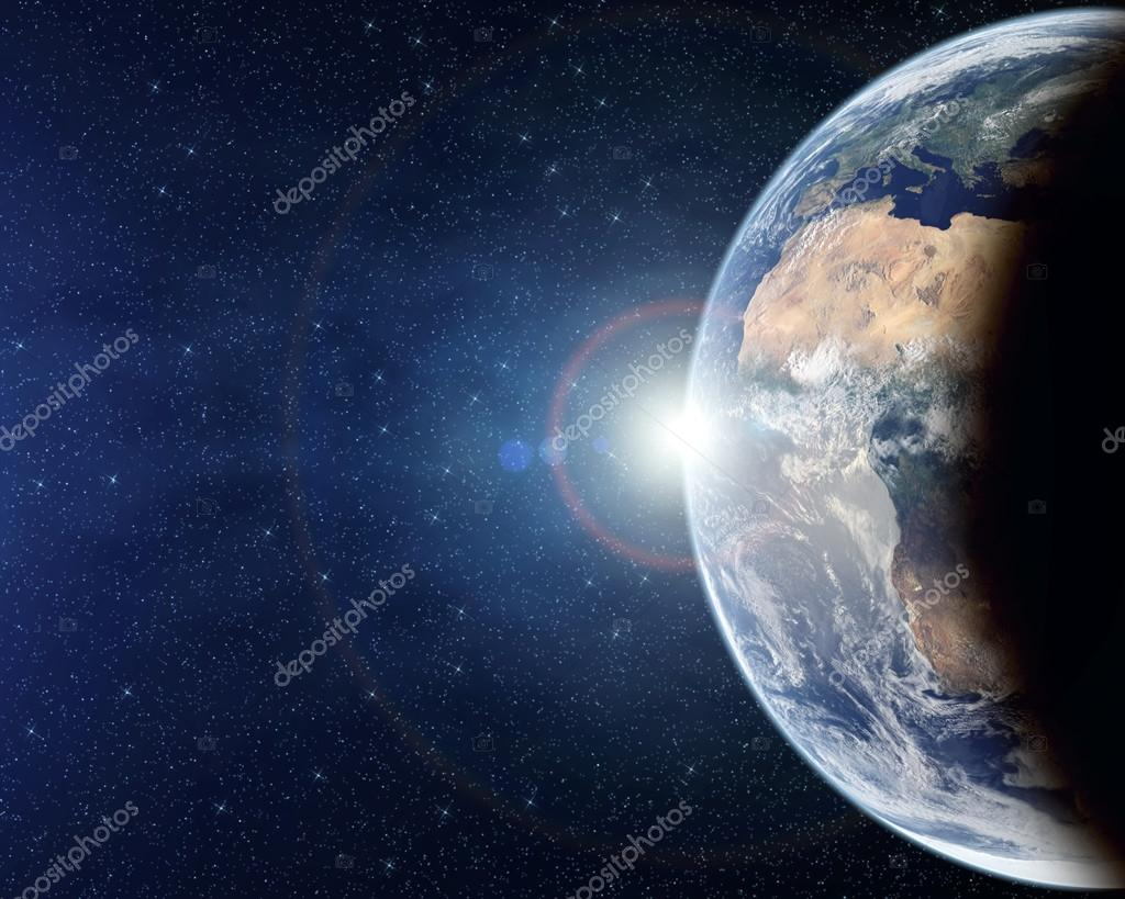 Planet Earth from above with lens flare — Stock Photo ...
