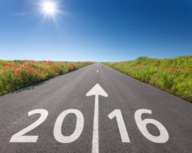 Driving on empty road towards the new 2016