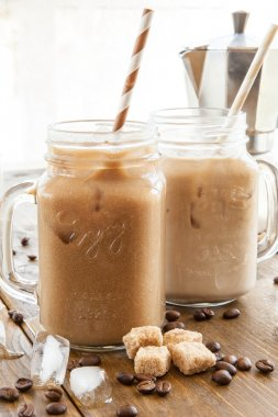 Iced coffee in vintage jar