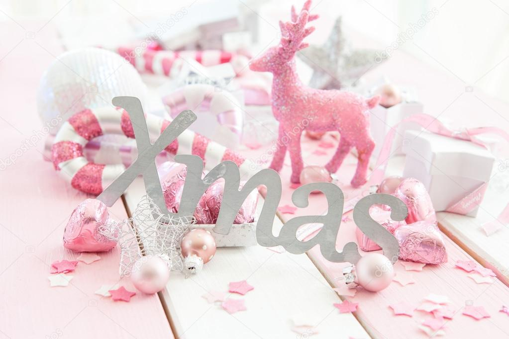 pink christmas decorations stock photo