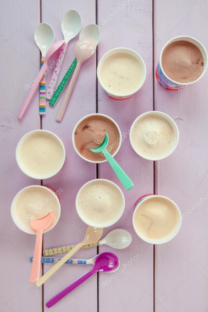 Various Ice Creams In Small Paper Cups Stock Photo Barbaraneveu