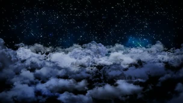 Seamless 3d animation of aerial view of cloudy night sky with clouds and star light falling with camera moving in night scene skyscape background in 4k loop