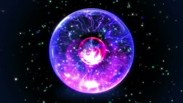 Seamless Plasma ball, black hole or wormhole, and warp zone animation in intergalactic space universe with star background pattern zooming in 4k ultra HD loop