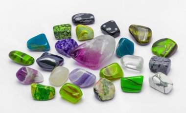 Colorful stones and minerals in white backgrounds