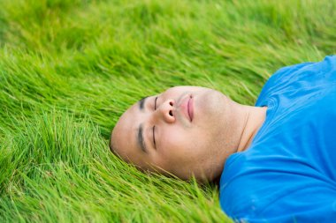 Fat Man Lying on the Green Grass to Rela