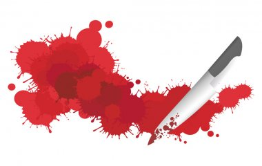 Blood splattering on the floor with a knife in crime scene, create by vector