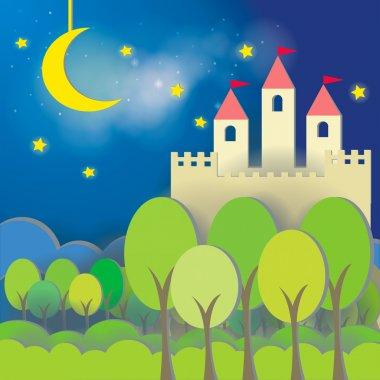 Fantasy Castle cardboard card in midnight background