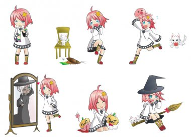 White Witch in many expression and action collection icon set 3. Series of cute little sorcerer  with her activities.