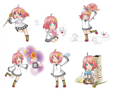 White Witch in many expression and action collection icon set 2. Series of cute little sorcerer  with her activities.