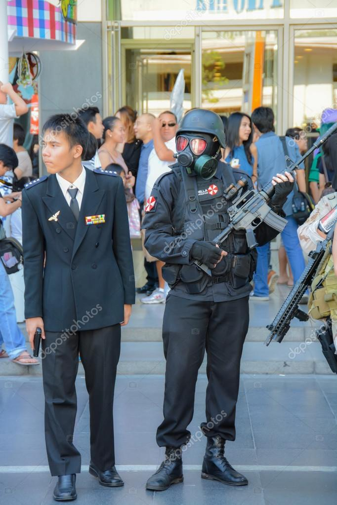 BANGKOK, THAILAND - MARCH 31: People dressed as Special force of Umbrella Corporation and his general attend the 3rd Thai-Japan anime festival on March 31, 2013 in Bangkok.
