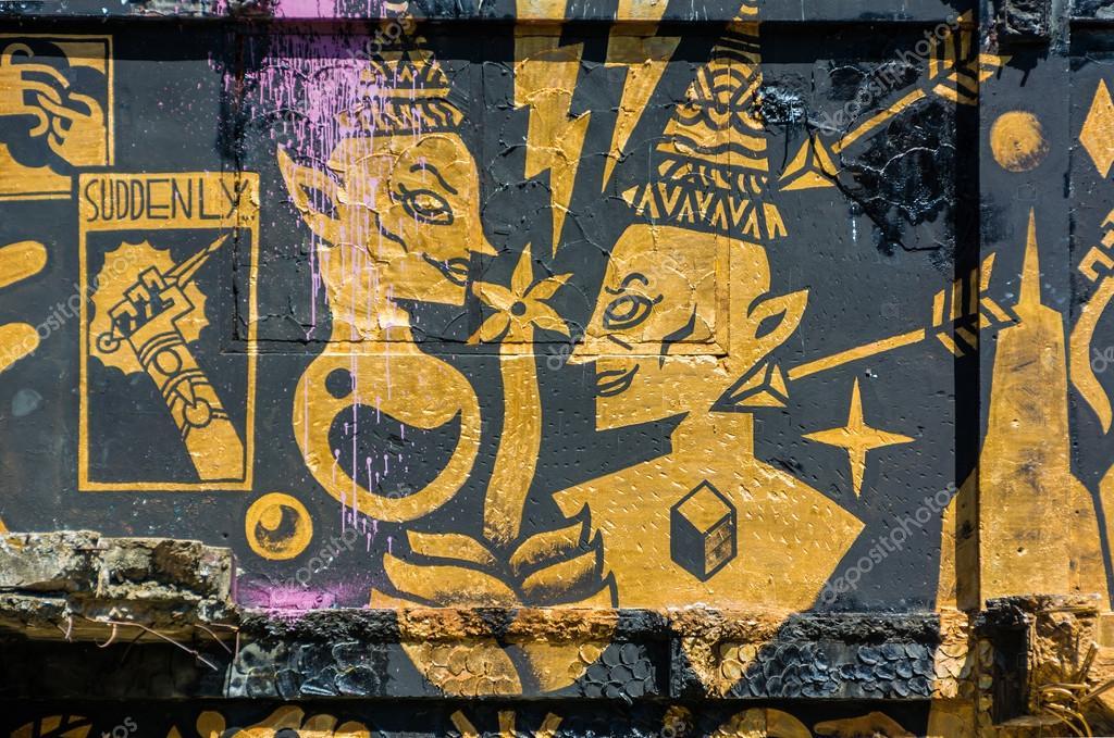 Satanic graffiti on the abandon building in Thailand
