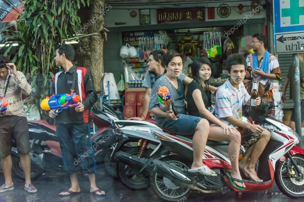 Guns and beers in Songkran festival, Thailand