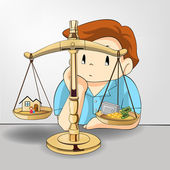Weight between work money and your family relationship in cartoon design. If not you might loose one thing (vector)