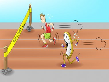 Cartoon Man racing with time clock to the goal. Everyone have to race with time limit in these days and speed is one significant factor in business and work. (vector)