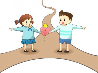 When a lover couple boyfriend and girlfriend are on different path in isolated background, will it destroy their relationship? (cartoon vector with road)