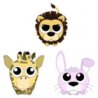 Cute cartoon animals icon consist of lion, rabbit, and giraffe looking up set, create by vector