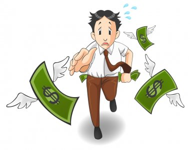 Money is flying away from the pocket of office worker, investor, or businessman in isolated background. It is because of inflation, economic recession, or business loss? Cartoon vector