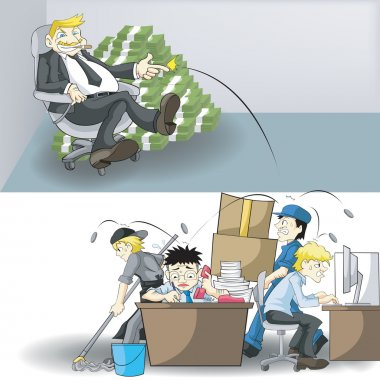 The real income, money, and workload between CEO business owner and office Employees. What is your next move in life. Cartoon vector concept.