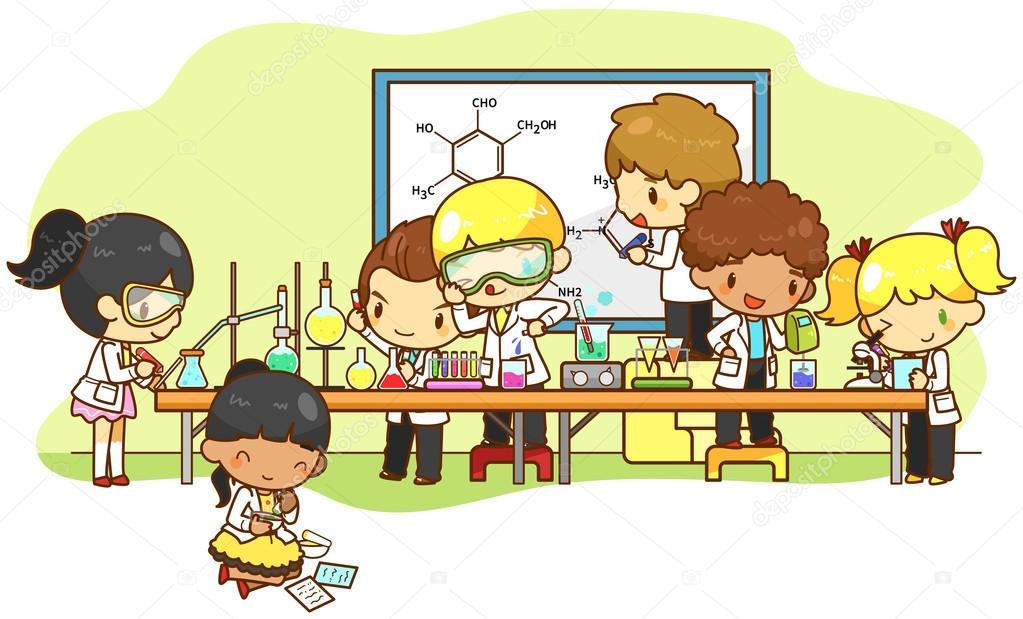 Dibujos animados científico niños están estudiando y