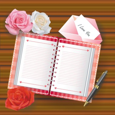 Love diary on the wooden floor with line and other stuffs such as rose flower letter card and ballpoint pen used as notebook background decoration for valentine concept, create by vector