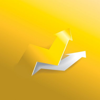 Glossy Arrow business profit graph peeling up increase from gold paper background texture, create by 3d style vector