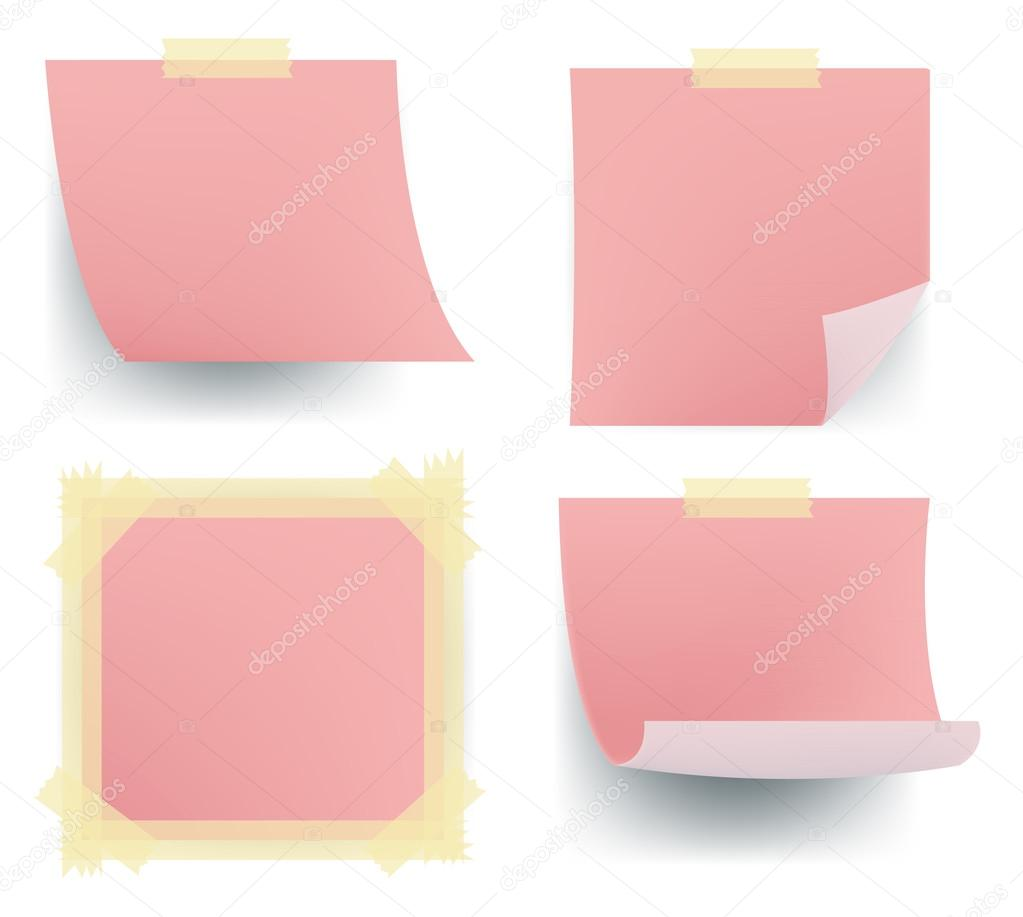 pink note paper icon sets sticking on the wall for office. Black Bedroom Furniture Sets. Home Design Ideas