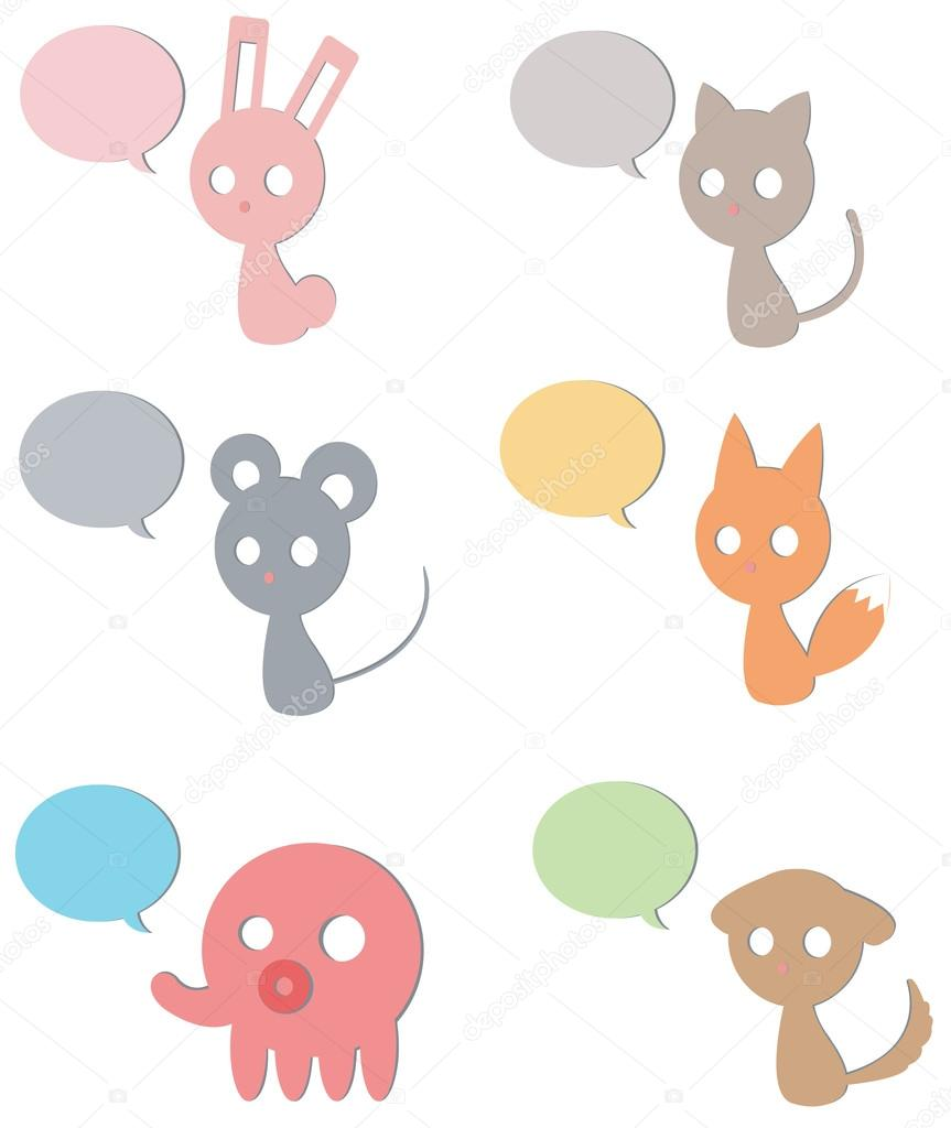 Cardboard cartoon Animals and pet such as cat fox rabbit dog mouse