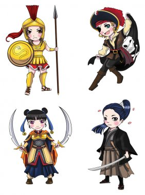 Ancient cartoon warriors fighters soldier and military warlords girl from various culture such as Roman spartan pirate chinese swordsman samurai icon character set 1, create by vector
