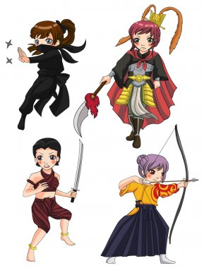 Ancient cartoon warriors fighters soldier and military warlords girl from various culture such as ninja Chinese warrior Thai warrior and Japanese archer icon character set 3, create by vector