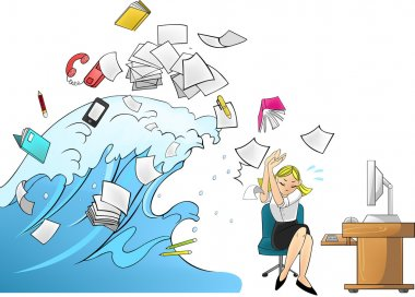 Tidal wave tsunami of workload with office tools in the office attacking a female secretary or businesswoman - woman version (cartoon vector)