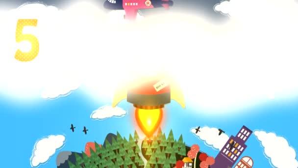 HD animace kreslená raketa raketoplán odpočítávat představení pro děti. Scény ukazují raketa létání se ze země a mladý astronaut, plovoucí z průzkumných vědy a astronomie v Hd Hidef kvalitě 1920 x 1080