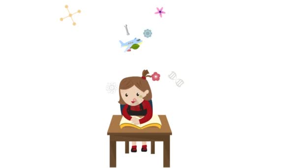 Cartoon animation of a girl student is reading education book on her desk in class with science maths chemistry engineering physics art and creative knowledge icon until graduation in 1920x1080 HD