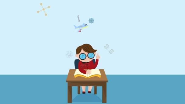 Kreslená animace studenta dítě chlapec je čtení knihy vzdělání na stole s vědou matematika chemie biologie inženýrská fyzika a dalších výtvarných znalostí ikonu až do promoce v Hd