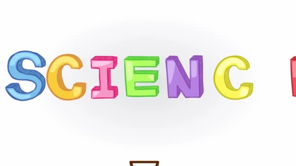 Animation of simple colorful fundamental science subject header such as physics, chemistry, astronomy, and biology with sign and symbol icon object tool moving and exploding used for education introduction in isolated background in 1920x1080 HD