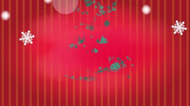 Animace obrázku vánoční strom ornament ikona hvězdu a bílou zimní sněhové vločky padající a zlatý rukopisu doodle textem v pozadí červeným vzorem pro e kartu v HD kvalitě 1920 x 1080