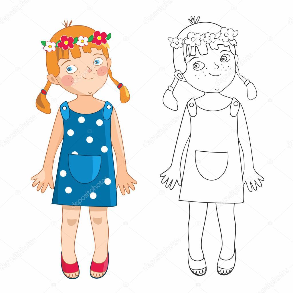 Eva, niña en verano - libro para colorear — Vector de stock ...