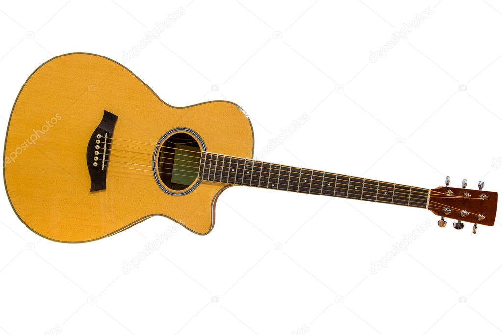 Acoustic Guitar Isolated On A White Background Stock Photo