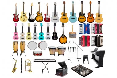 set of different musical instruments isolated on white background