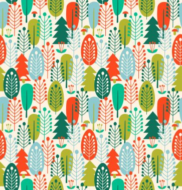 Seamless background with stylized trees