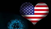 Photo American flag heart with Covid-19, Coronavirus and black background