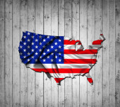 Photo American flag map of silk and wood background