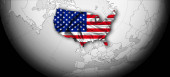 Photo american flag of silk, world map and black background, digital background