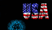 Photo American flag with USA text of silk with Covid-19, Coronavirus and black background
