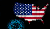 Photo American flag, map of wood with Covid-19, Coronavirus and black background