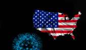 Photo American flag, map of silk with Covid-19, Coronavirus and black background