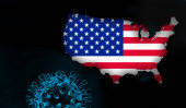 Photo American flag, map with Covid-19, Coronavirus and black background