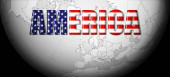 Photo American flag, text, world map and black background