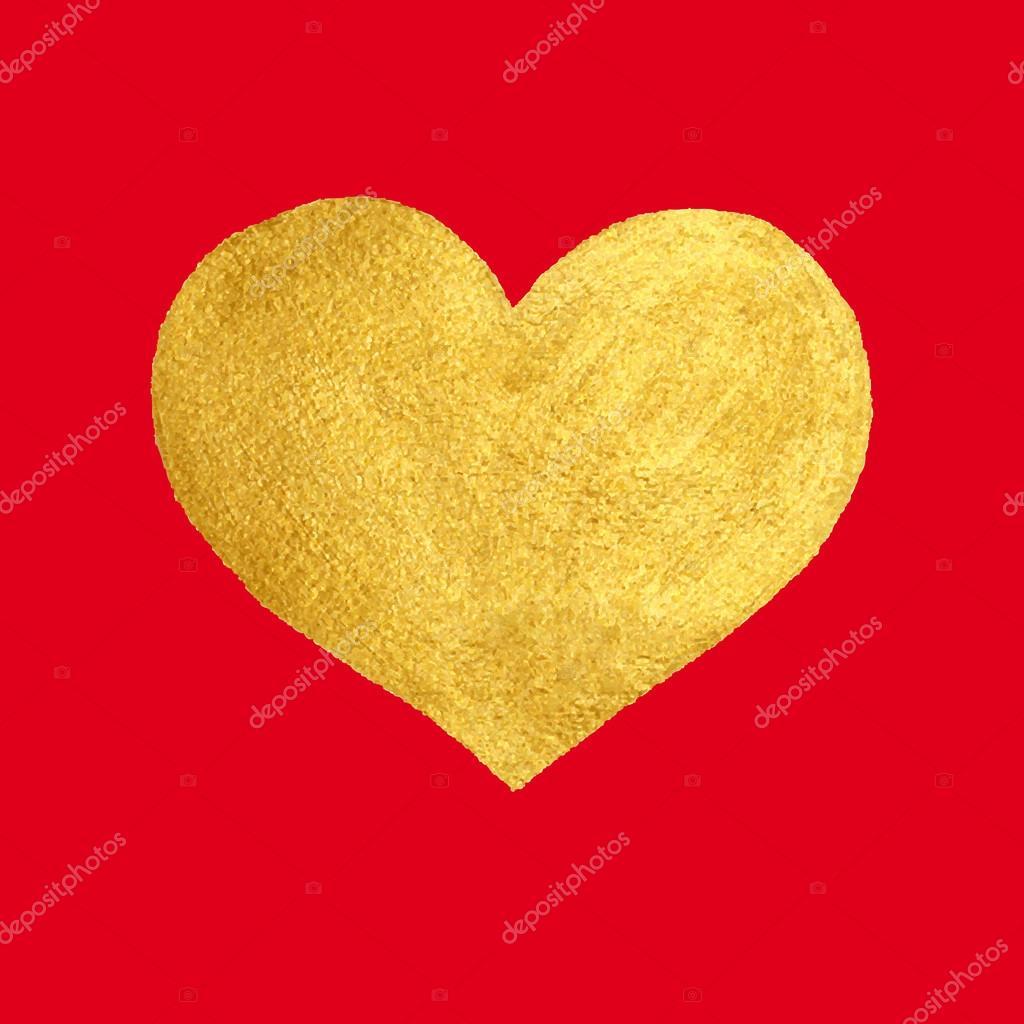 Herz Liebe Gold Aquarell Textur Farbe färben. Golden ...