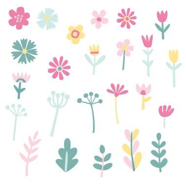 """Картина, постер, плакат, фотообои """"collection of cute vector flowers and plants"""", артикул 117655302"""