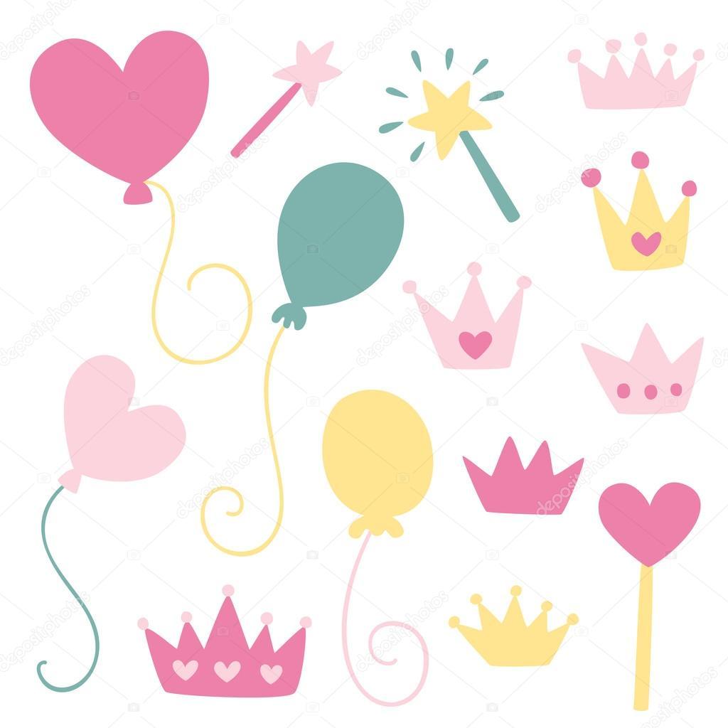 かわいいガーリーなイラスト プリンセス パーティー ストック